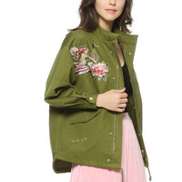 Army green floral embroidery jacket
