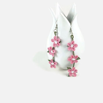 Statement Pink Flower Earrings - Crocheted Lacy Earrings -Tatted Lace -  Turkish Oya - Knitted Jewelry - Tatted Lace Jewelry - Bohemian