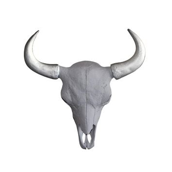 The Mini Yellowstone Skull | Buffalo Bison Skull | Faux Taxidermy | White + Silver Horns Resin