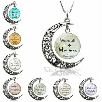We're All Quite Mad Here Cheshire Cat Quote Crescent Moon Necklace Pendant Alice In Wonderland Jewelry Glass Dome Fashion Gift