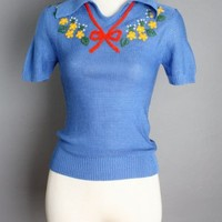 1970's Blue Bow 1940's Style Sweater - M :
