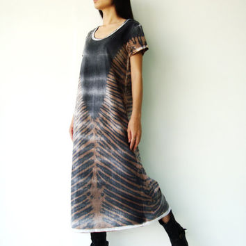 NO.109   Black and Brown Cotton Jersey Tie-Dye Tee Shirt Dress