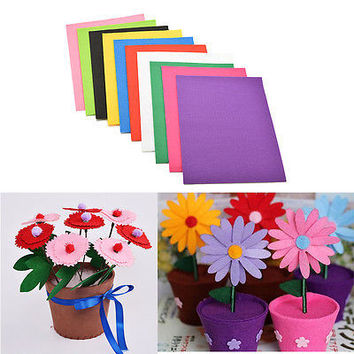 10 Colors/lot 30X20cm Non-woven Felt Fabric Kids DIY Craft 2mm Thick TBUS