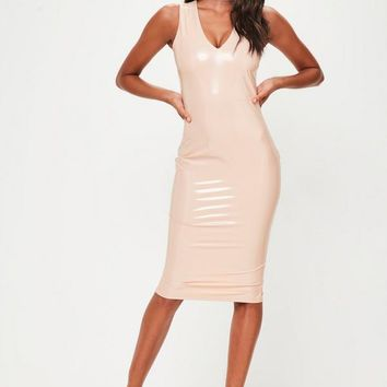 Missguided - Pink Vinly Plunge Sleeveless Midi Dress