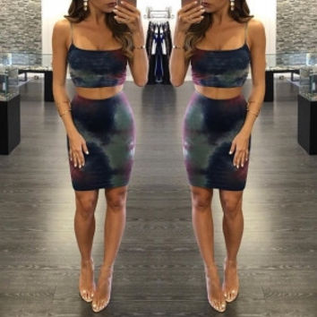 Strapy Crop Top with Fitted Mini Skirts