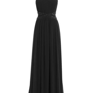 Ubridal US Women's Long Halter Pleated Beading Chiffon Formal Bridesmaid Prom Dress