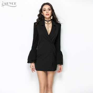 Slim Trench Black V-Neck Single Breasted Petal Sleeve Long Style