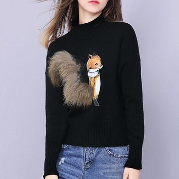 Cute Fox Sweater W/ Fur