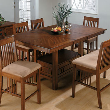 Jofran 477-72 Saddle Brown Oak Rectangular Counter Height Table w/ Leaf