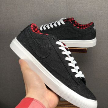HCXX 19June 1216 Nike Blazer Low SB Canvas Casual Board Shoes black red