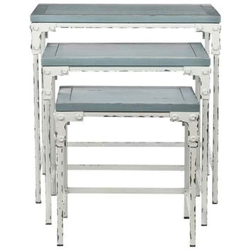 Safavieh Home Furniture AMH6550A Distressed White and Distressed Pale Blue Finish Nesting Tables
