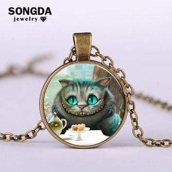 SONGDA Classic Alice in Wonderland Cheshire Cat Necklace Glass Cabochon Vintage Long  Chain Necklace Fine Gem Choker Cat Jewelry