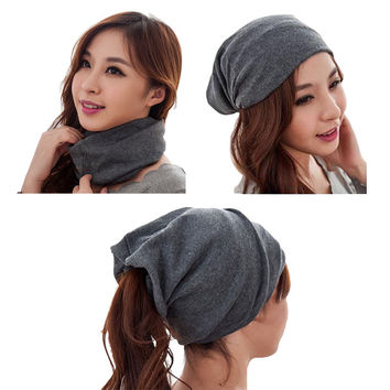 Autumn 3 way to wear(as beanies\ring scarf\headscarf)neck warmer beanie cap winter hat for women,bonnet femme,gorros mujer