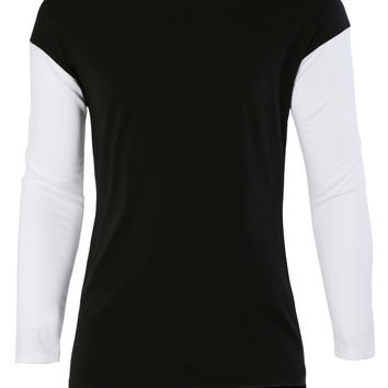 LE3NO Mens Lightweight Round Neck Color Block Raglan Sleeve T Shirt