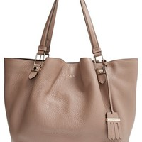 Tod's 'Large Flower' Leather Tote - Grey