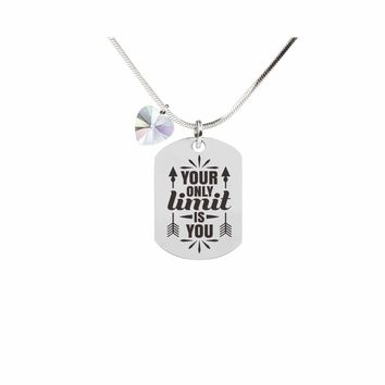 Inspirational Tag Necklace In AB Made With Crystals From Swarovski  - YOUR ONLY LIMIT