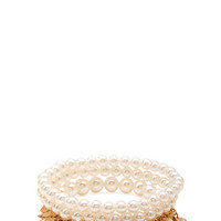 FOREVER 21 Faux Pearl & Leaf Bracelet Set Cream/Gold One