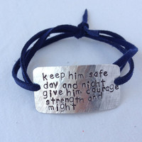 "police wife bracelet, firefighter wife bracelet, ""keep him safe day and night"" police jewelry, police girlfriend, wrap bracelet, handstamped"