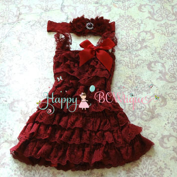 21c8c1b7b Girl's Dark Red Christmas Dress, Holiday Burgundy Lace Dress set,Girl's  Fall dress,