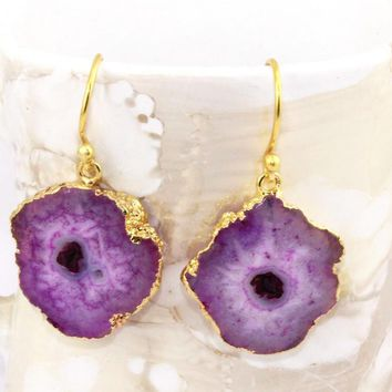 H3587 Winter Sale Natural Purple Solar Quartz Druzy Gold Plated Earring Jewelry