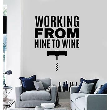 Vinyl Wall Decal Bar Quote Wine Corkscrew Bottle Opener Kitchen Stickers Mural (g444)