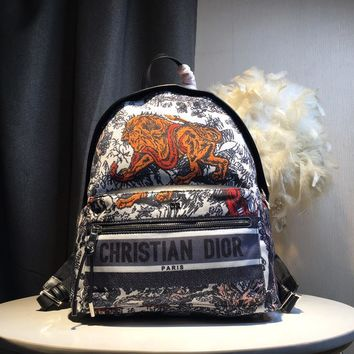 Kuyou Gb59819 Dior Backpack In Dior Oblique Canvas With Lion Print 30x 15x42cm