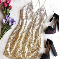 golden hour ombre sequin bodycon dress