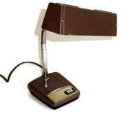 Vintage Gooseneck Table Desk Lamp, Industrial, Brown Metal,