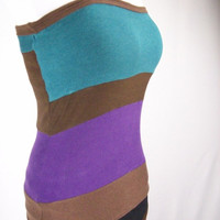 Sale OOAK, Patchwork, Upcycled, Eco, Handmade Tube Top, Shirt, Small, Women's, Strapless, Purple, Green, Brown, Festival Shirt, Hippie Top