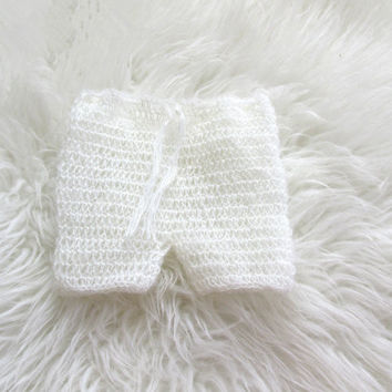 Photography Props Crochet/Knitting mohair baby short pants  Baby Crochet Mohair pants