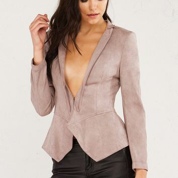 Suede Peplum Jacket in Burgundy and Beige