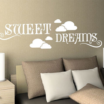 rvz996 Wall Vinyl Sticker Bedroom Decal Sign Words Quote Sweet Dreams Clouds