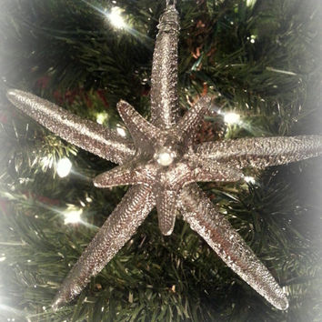 Silver Starfish Ornament Set of 3.  Beach Theme Christmas Decoration.