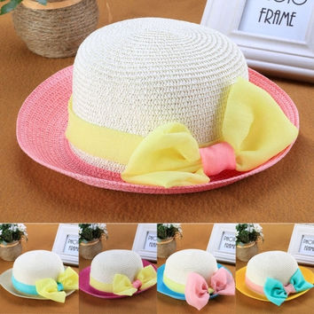 Fashion Children Kids Girl's Summer Beach Hats Big Bow Wide Brim Sun Beach Patchwork Straw Cap