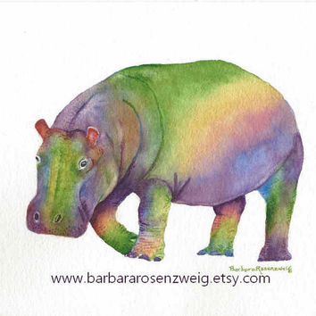 Nursery Wall Art, Hippo Art Print,Watercolor Hippo Painting, Hippo Poster,Colorful Hippo,Zoo Art,Baby Boy Girl Child Room,Barbara Rosenzweig