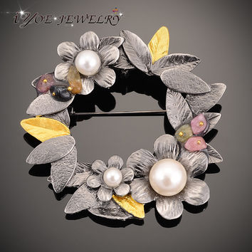 IYOE Antique Plated Metal Flower Brooches Pendant With Natural Stone Simulated Pearl Brooch Pins Women Vintage Jewelry