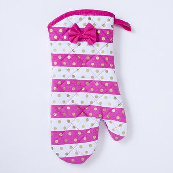 Pink Stripes Gold Dots Oven Mitt