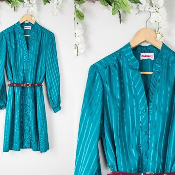 Vintage Teal Satin Button Up Dress