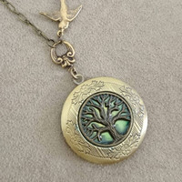 Tree of life locket, Vintage Locket Necklace, family, friends, Anniversary Gift Vintage Ornate Locket wedding gift.
