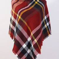 Blanket Plaid Scarf Red