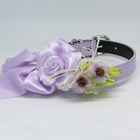 Lilac Floral Dog Collar, Pet Wedding, Rose Flowers, Handmade, Puppy Love