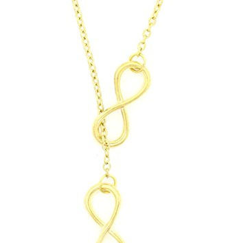 Infinity Loops Necklace Gold Tone Eternity Statement Double Pendant NR27 Fashion Jewelry