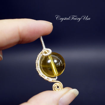 Wire Wrapped Citrine Pendant - Sterling Silver Citrine Necklace - Citrine Jewelry -  Wired Yellow Stone Pendant Necklace  Citrine Healing