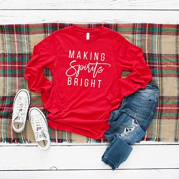 Making Spirits Bright Long Sleeve Graphic Tee