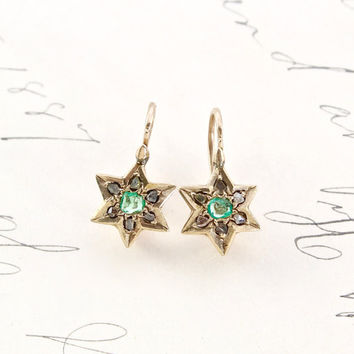 Victorian Emerald & Rose Cut Diamond Star Earrings, Antique 10k Shield of David, Magen, Kabbalist Symbol Motif, Bride Bridal Wedding Jewelry