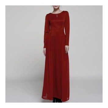 Splicing Chiffon Wine Red Floor-length Long Dress   S