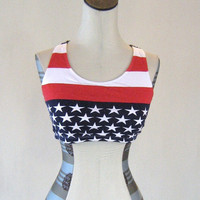 Stars & Stripes American Flag Workout Sports Bra