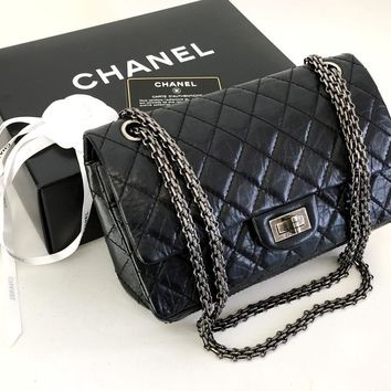 Authentic Chanel Classic 2.55 Reissue 225 Black Aged Calfskin Flap Bag RHW