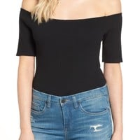 Glamorous Rib Off the Shoulder Bodysuit | Nordstrom