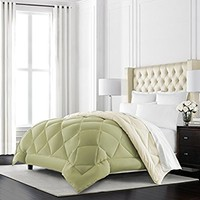 Beckham Hotel Collection Goose Down Alternative Reversible Comforter - All Season - Premium Quality Luxury Hypoallergenic Comforter - Twin/Twin XL - Sage/Ivory